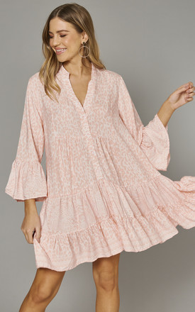 Madiha High Low Tiered Smock Tunic In Pink by Blue Vanilla Product photo