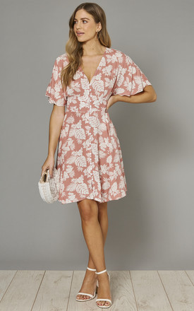 Aubree Button Through Dress In Blush Tropical Print by Blue Vanilla Product photo
