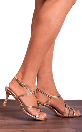 Rose Gold Metallic Kitten Heel Sandals with Straps by Shoe Closet
