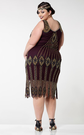 Molly Vintage Inspired Flapper Dress in Plum by Gatsbylady London
