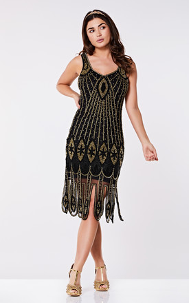Molly Vintage Inspired Flapper Dress in Black Gold by Gatsbylady London