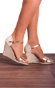 Rose Gold Espadrille Wedges with Ankle Straps by Shoe Closet