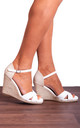 White Espadrille Wedges with Ankle Straps by Shoe Closet
