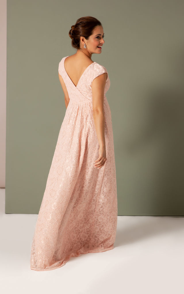 Nicola Lace Maternity Bridesmaid Dress in Pearl Pink by Tiffany Rose Maternity