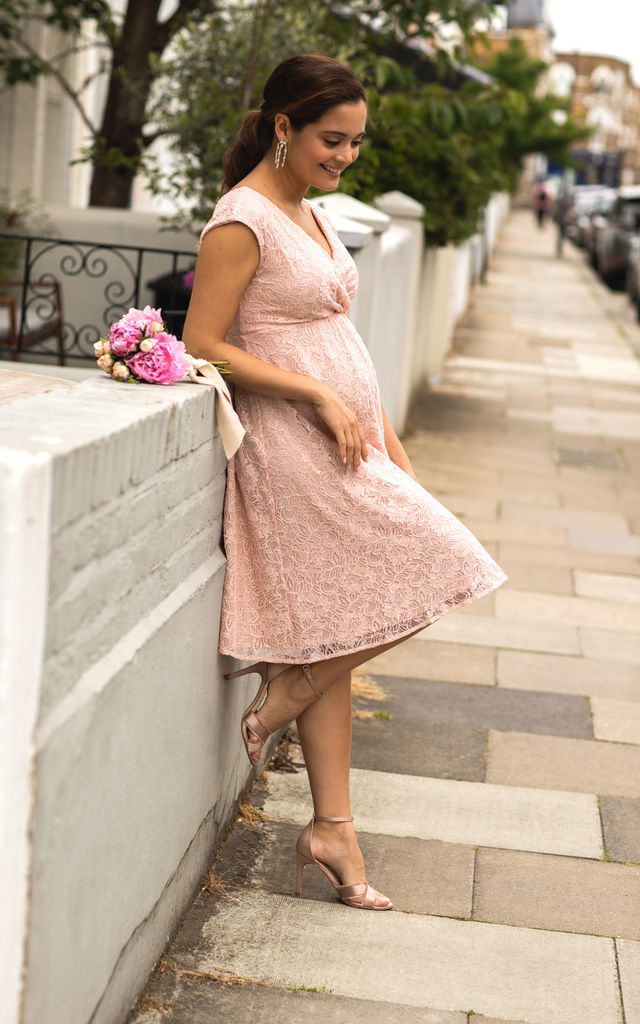 Nicola Maternity Bridesmaid Dress in Pearl Pink by Tiffany Rose Maternity