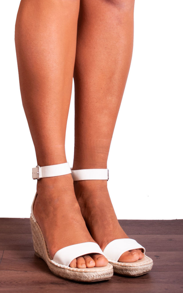 White Espadrille Wedges with Straps Strappy Sandals by Shoe Closet