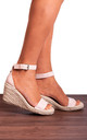 Nude Espadrille Wedges with Straps Strappy Sandals by Shoe Closet