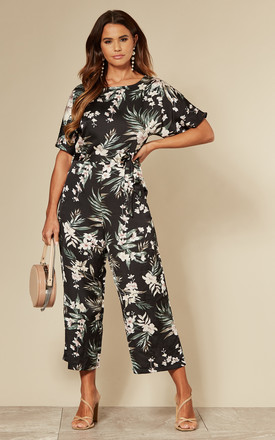 Tropical Culotte Jumpsuit In Black Floral by AX Paris Product photo
