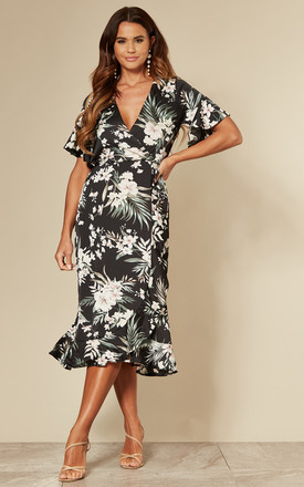 Tropical Midi Wrap Dress With Frill Hem In Black Floral by AX Paris Product photo