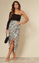 Satin Midi Wrap Skirt in Beige Animal print by D.Anna