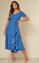Exclusive Bardot Frill Midi Dress in Royal Blue by Feverfish