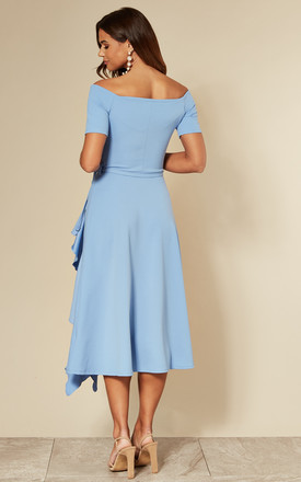 Exclusive Bardot Frill Midi Dress in Heritage Light Blue by Feverfish