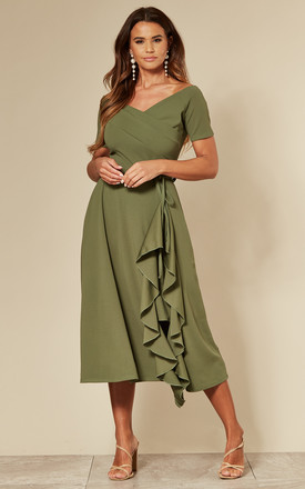 Exclusive Bardot Frill Midi Dress In Sage Green by Feverfish Product photo