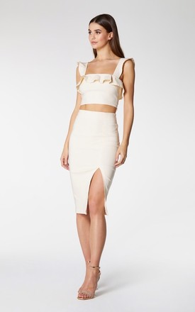 Nora Bodycon Skirt with Slit in Latte Neutral by Vesper247