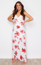 Mia Wrap Maxi Dress White / Pink Floral by Girl In Mind