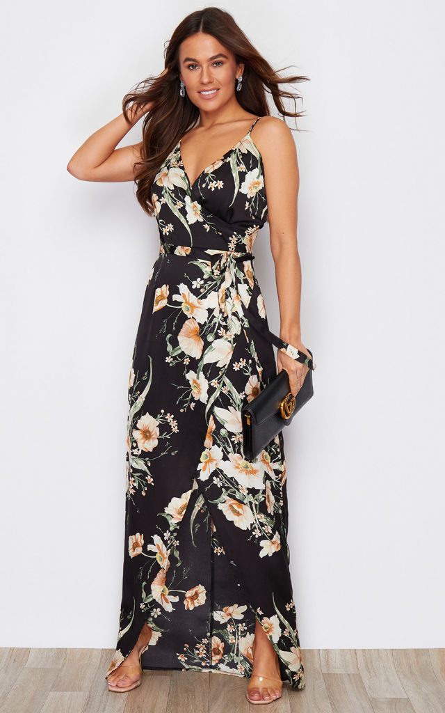 Mia Wrap Maxi Dress Black Floral Print by Girl In Mind
