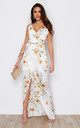 Mia Wrap Maxi Dress White Floral Print by Girl In Mind