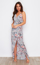 Mia Wrap Maxi Dress Grey/Pink Print by Girl In Mind