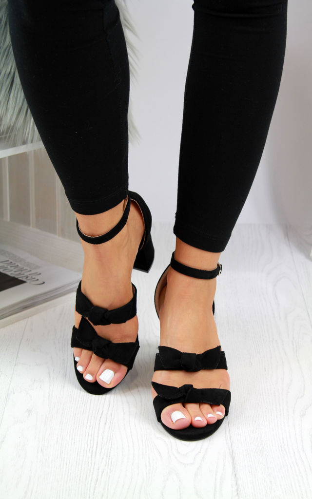 Carina Black Bow Strappy Block Heeled Sandals by Larena Fashion