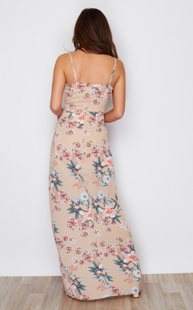 Mia Wrap Maxi Dress Beige Floral Print by Girl In Mind