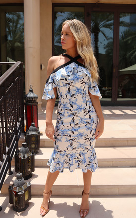 Peplum Bodycon Midi Dress In Blue Floral Print by J.M.TAIT