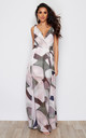 Hayley Twist Strap Side Split Wrap Chiffon Maxi Dress Multi Print by Girl In Mind