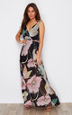 Hayley Twist Strap Side Split Wrap Chiffon Maxi Dress Black/Pink Print by Girl In Mind