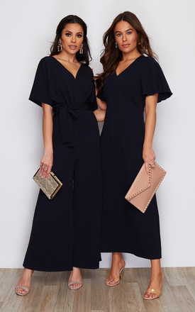 London V Neck Wrap Tie Waist Jumpsuit Navy by Girl In Mind