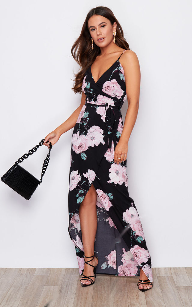 Mia Wrap Maxi Dress Black / Pink Floral by Girl In Mind