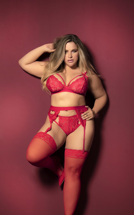 Plus Size Red Three Piece Set Lingerie Set Bra Thong & Garter by MAPALE