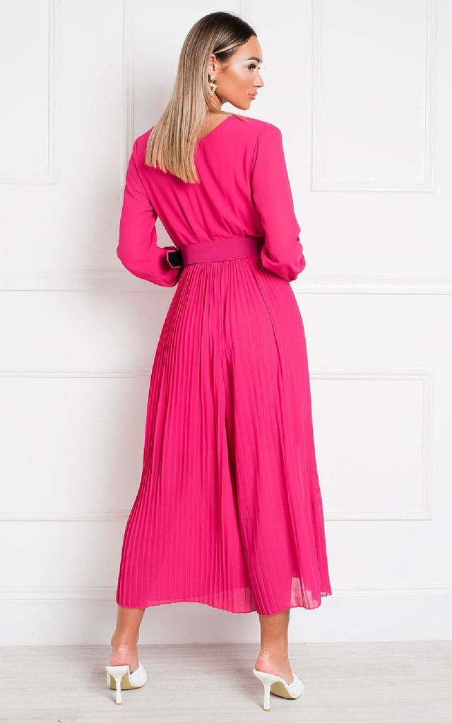 Sara Belted & Pleated Jumpsuit in Fuschia by IKRUSH