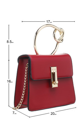 RED FLAP OVER BAG WITH METAL KNOTTED HANDLE by BESSIE LONDON
