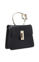 BLACK FLAP OVER BAG WITH METAL KNOTTED HANDLE by BESSIE LONDON