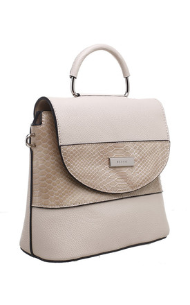 BEIGE CROC PRINT FLAP OVER BAG WITH TOP HANDLE by BESSIE LONDON