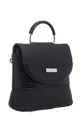 BLACK CROC PRINT FLAP OVER BAG WITH TOP HANDLE by BESSIE LONDON