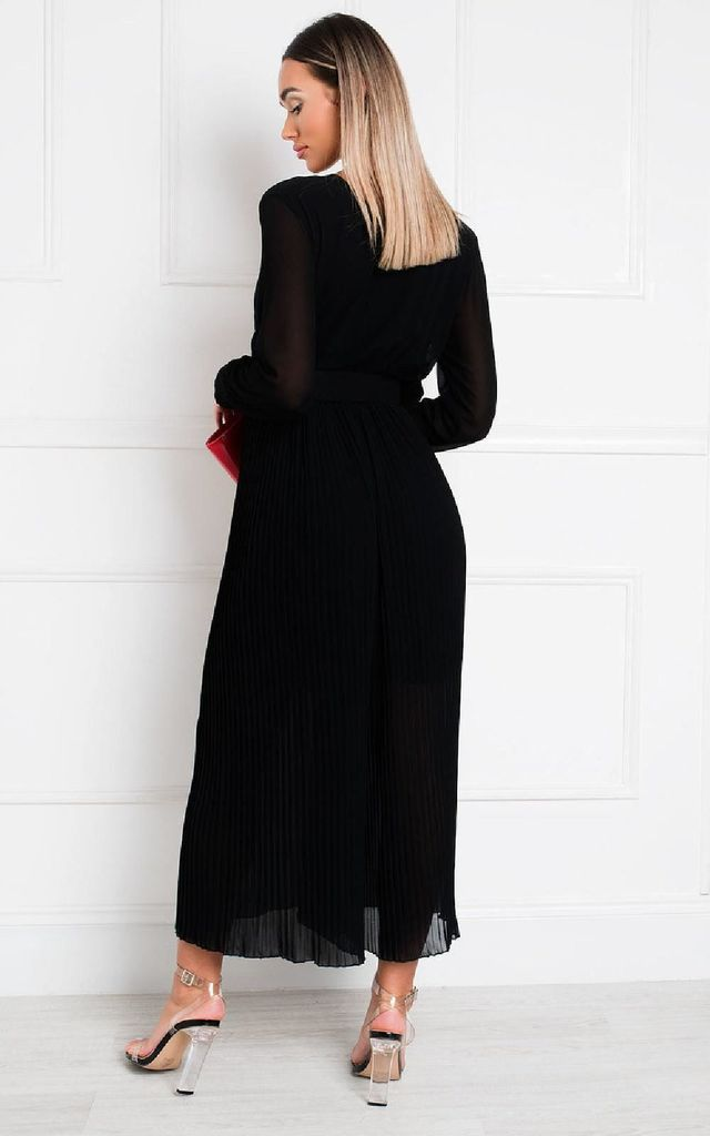 Sara Belted & Pleated Jumpsuit in Black by IKRUSH