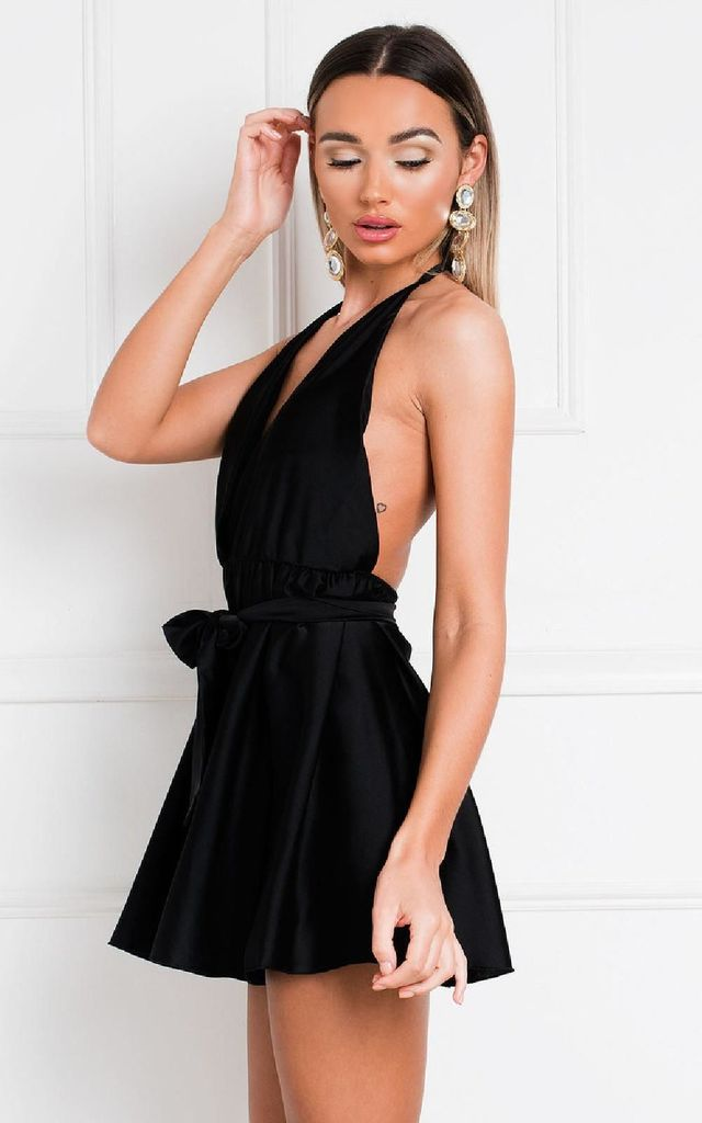 Bevvy Satin Playsuit in Black by IKRUSH