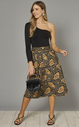 Full Midi Skirt in Black & Gold Perfect Paisley Print by Ruby Rocks