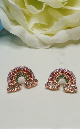 RAINBOW AND CLOUD ROSE GOLD PLATED EARRINGS by EPITOME JEWELLERY