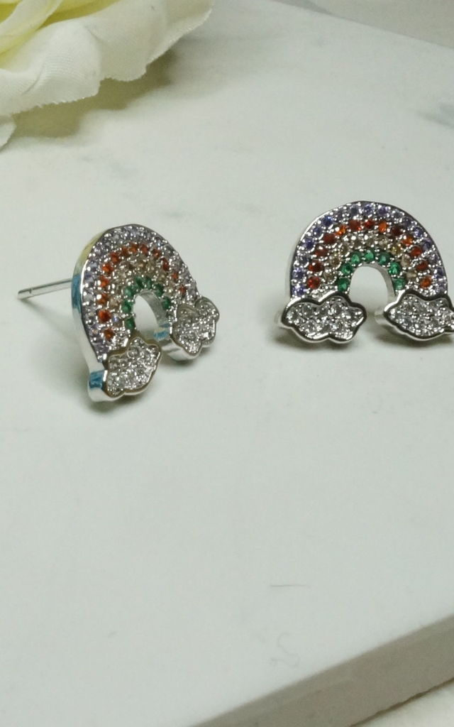 RAINBOW AND CLOUD SILVER PLATED EARRINGS by EPITOME JEWELLERY