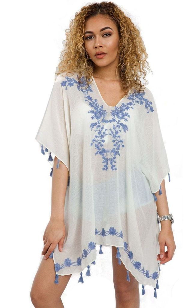 WHITE/BLUE KAFTAN WITH TASSELS & FLORAL EMBROIDERY by LOES House