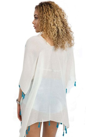 WHITE/TURQUOISE KAFTAN WITH TASSELS & FLORAL EMBROIDERY by LOES House