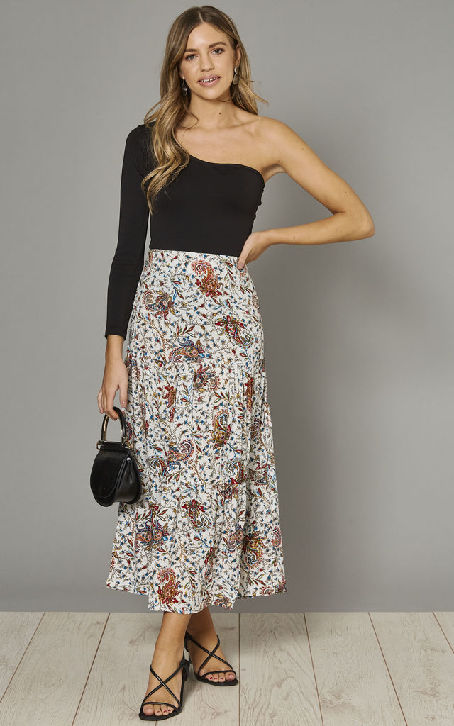 Mia Maxi Skirt in White & Tan Forest Paisley Print by Ruby Rocks