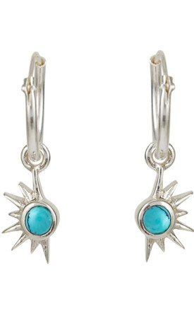 Sterling Silver Total Eclipse Gem stone charm Hoops in Turquoise by Charlotte's Web