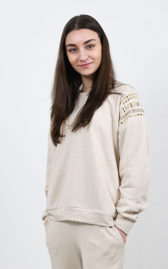 Sweatshirt With Stud Detail in Beige by Lucy Sparks