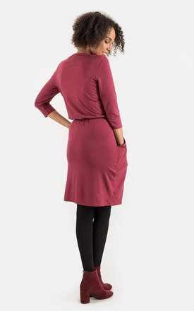 Olive 3/4 Sleeve Blouson Waist Dress in Wine by Popsy Clothing