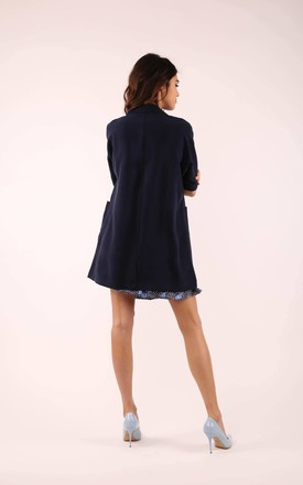 Loose Coat with Short Sleeve in Navy Blue by By Ooh La La
