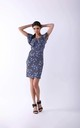 Pencil Mini Dress with Frill in Blue Floral Print by By Ooh La La