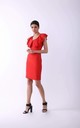 Pencil Mini Dress with Frill in Red by By Ooh La La