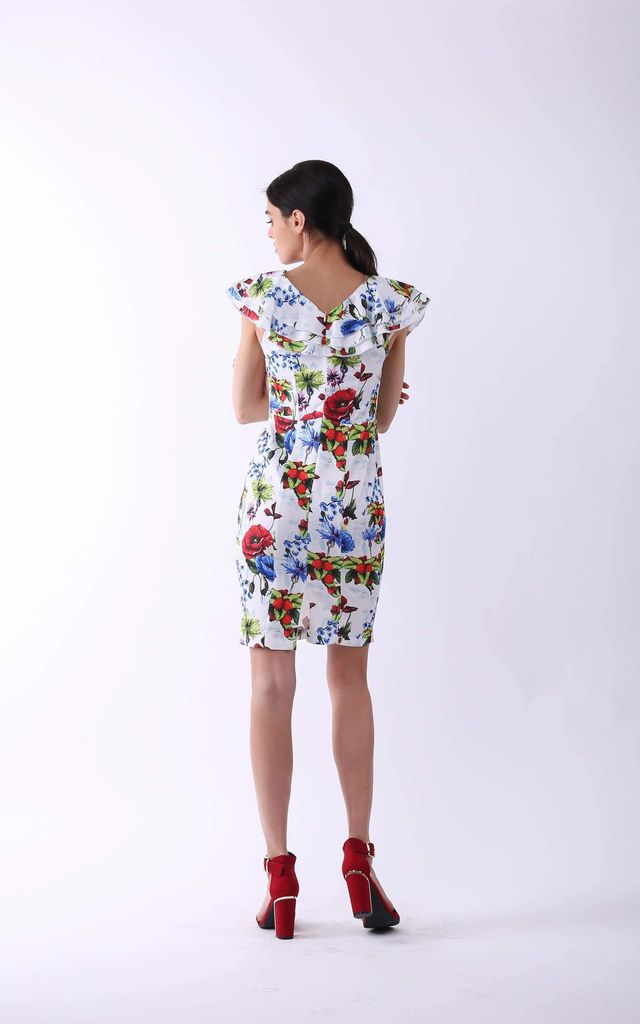 Pencil Mini Dress with Frill in White Floral Print by By Ooh La La